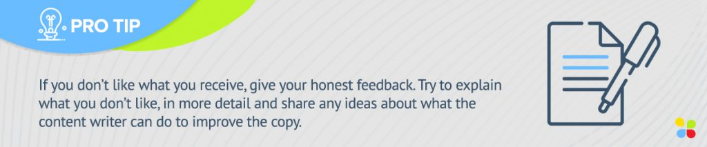 share any ideas about what the content writer can do to improve the copy